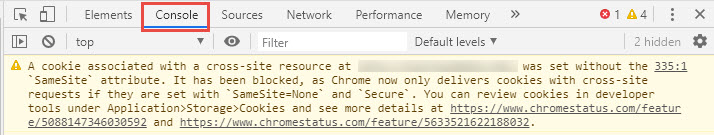 "Google Chrome Developer Tools with the Console bar selected and an error message reading ""A cookie associated with a cross-site resource at http://inscloudgate.net/ was set without the `SameSite` attribute. It has been blocked, as Chrome now only delivers cookies with cross-site requests if they are set with `SameSite=None` and `Secure`."""