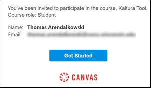 Canvas email Course Invitation with Get Started button.