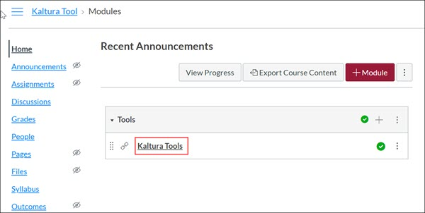Kaltura Tools course with Kaltura Tool link highlighted.