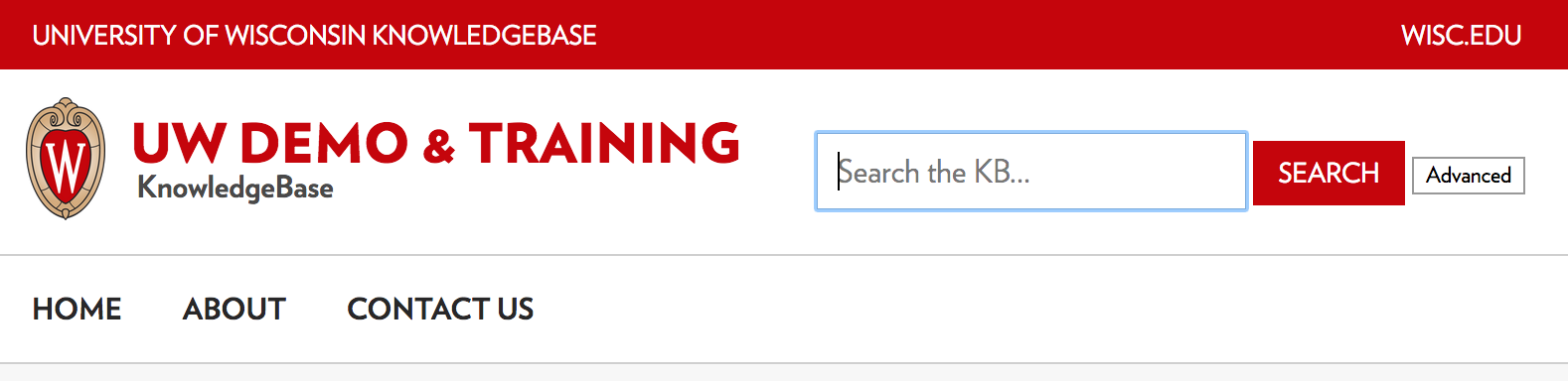 The link bar appears below both the logo and search bar