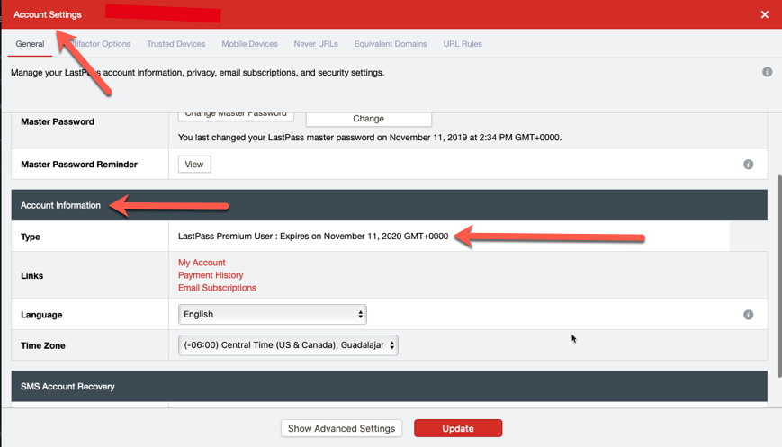 LastPass Premium Account Information Type