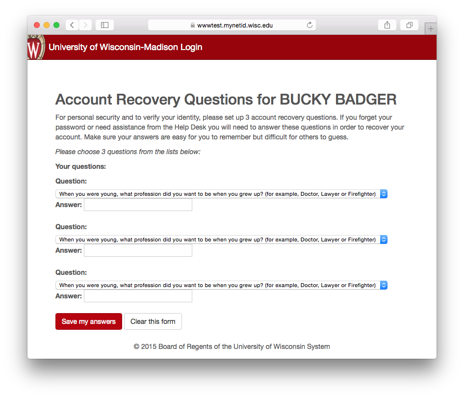 Account activation recovery question selection