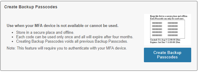 MFA portal section for generating backup passcodes