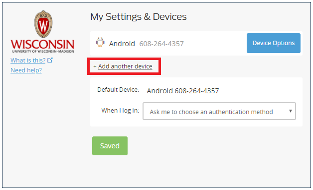 My Settings and Devices with Add Another Device highlighted