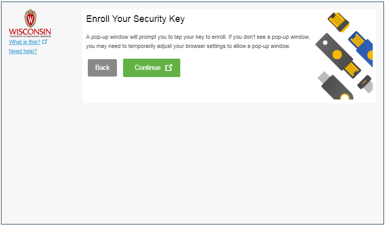 the options Back and Continue which will appear after selecting Security Key from the device types.