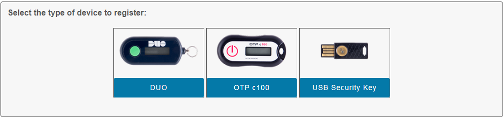Selection of three device types: Duo, OTP c100, Security Key