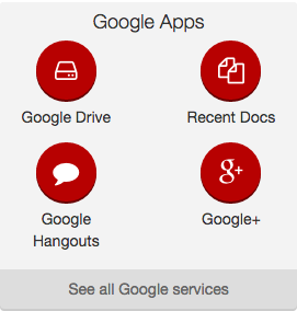 Screenshot of Google Apps custom expanded widget showing its four links