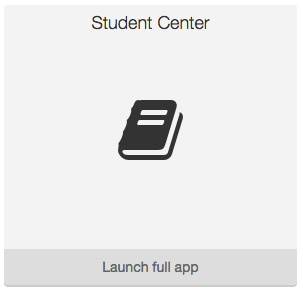 Screenshot of Student Center widget showing it is just an icon and text.
