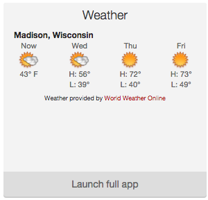 Weather expanded widget showing Madison weather.