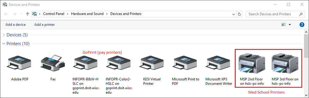 List of devices and printers