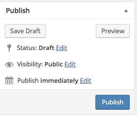 Pages Add New - Publish or Save As Draft