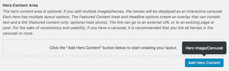 Add Hero Content Button