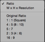 Ration Drop Down Menu setting to WxHxResolution