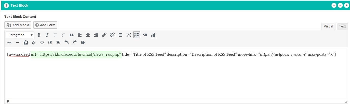 WiscWeb - WordPress UW Theme - RSS Feeds