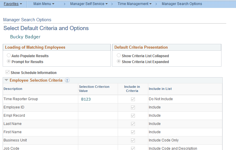 Manager Search Options