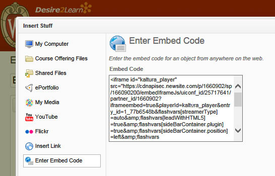 Embed code pasted into code form field